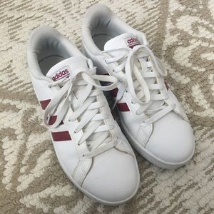 White and Maroon Adidas sneakers